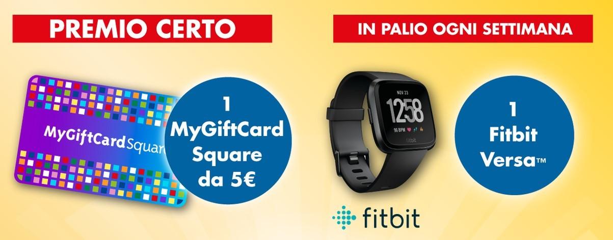 Concorso Equilibra Equilibra ti regala Shopping & Benessere: ricevi come premio certo un Buono convertibile da 5€ MyGiftCard Square e vinci Fitbit Versa