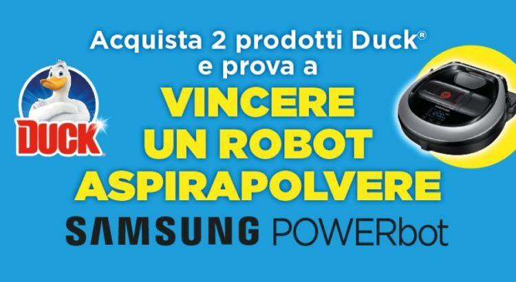 Concorso Duck da Caddys vinci robot aspirapolvere Samsung