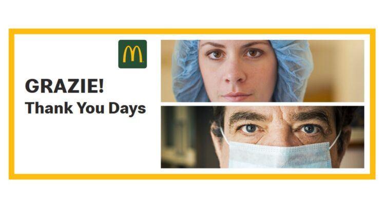 McDonalds Thank you days colazione gratis operatori sanitari