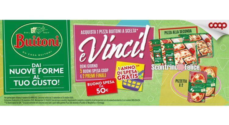 Concorso Pizza Buitoni da Coop vinci buoni spesa da 50€ e 1 anno di spesa gratis