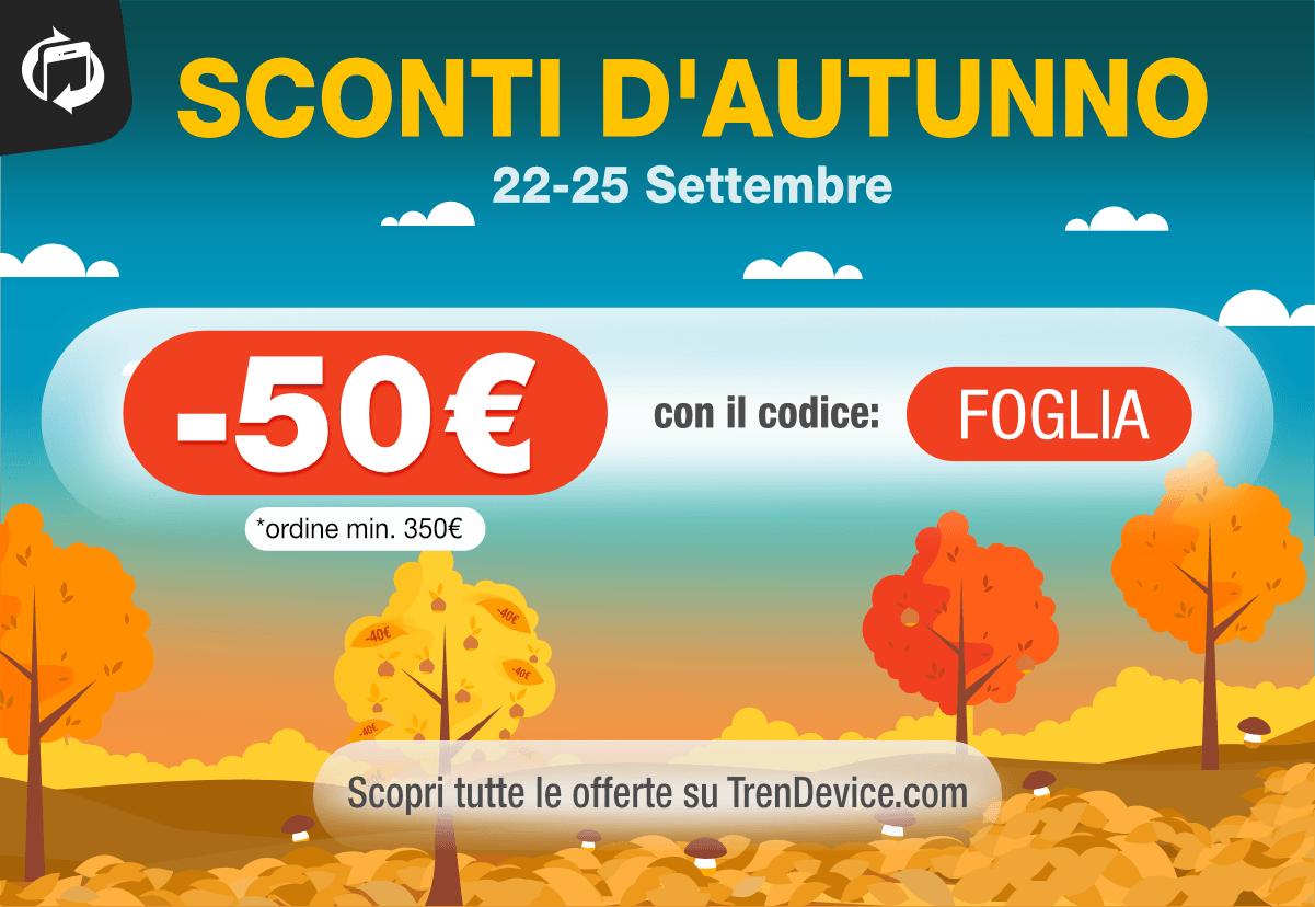 www.scontrinofelice.it trendevice sconti autunno Sconti d'autunno su TrenDevice:  50 € su Smartphone e Tablet Ricondizionati.