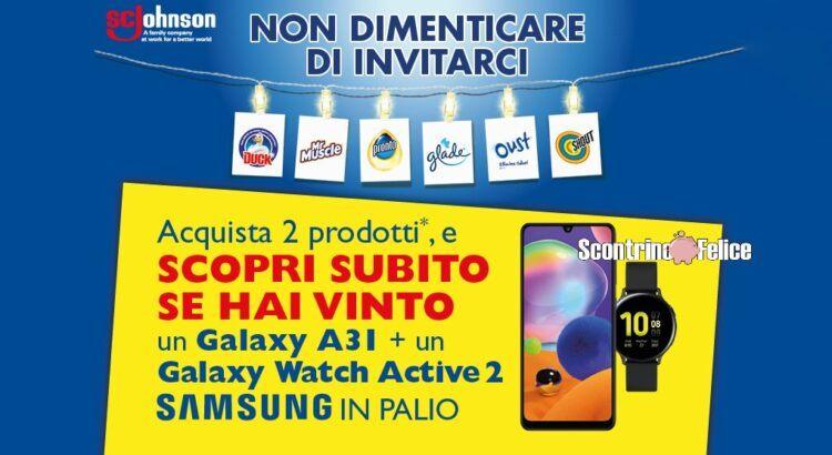 Concorso Glade Oust Duck Pronto Shout Mr Muscle Acqua e Sapone vinci Samsung A31 Galaxy Watch Active 2