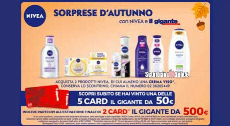 Concorso Sorprese D Autunno Con Nivea e Il Gigante in palio 70 gift card da 50€ e 2 da 500€