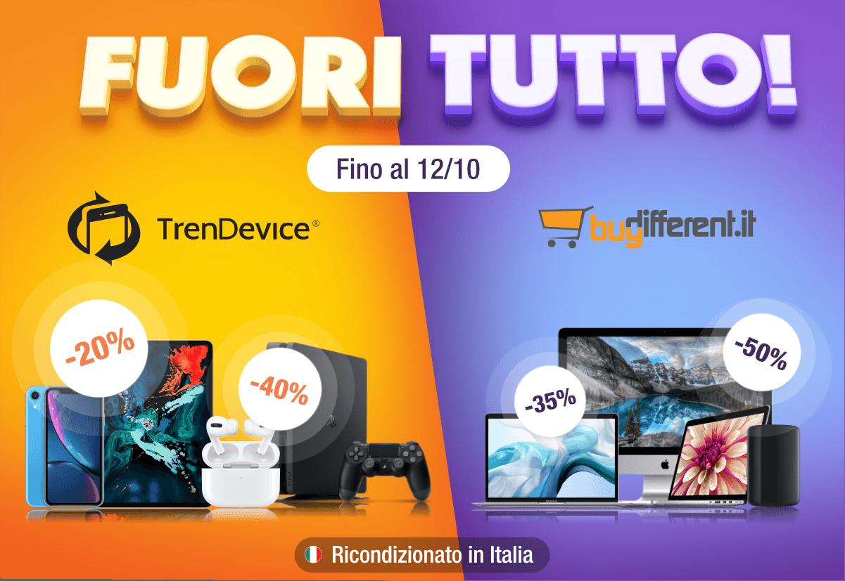 www.scontrinofelice.it pr td bd 001 Fuori Tutto TrenDevice e BuyDifferent: grandi sconti su tutti i Ricondizionati. iPhone 8 da 249,90€, PlayStation 4 da 189,00€.