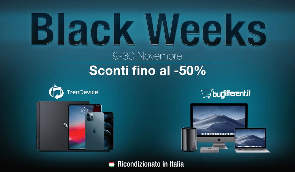 www.scontrinofelice.it blackweeks trendevice buydifferent Sconti Black Weeks TrenDevice e BuyDifferent: fino al  50% su tutti i Ricondizionati. iPhone X da 389,90 €, iPhone 8 da 219,90 €.