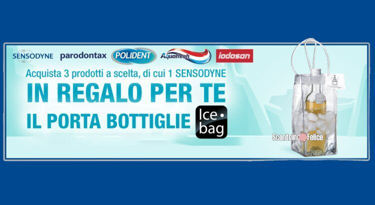 sensodyne parodontax polident aquafresh iodosan ti regalano porta bottiglie Ice Bag premio sicuro