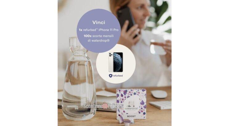 Concorso gratuito Waterdrop vinci 100 scorte mensili e 1 iPhone 11 Pro