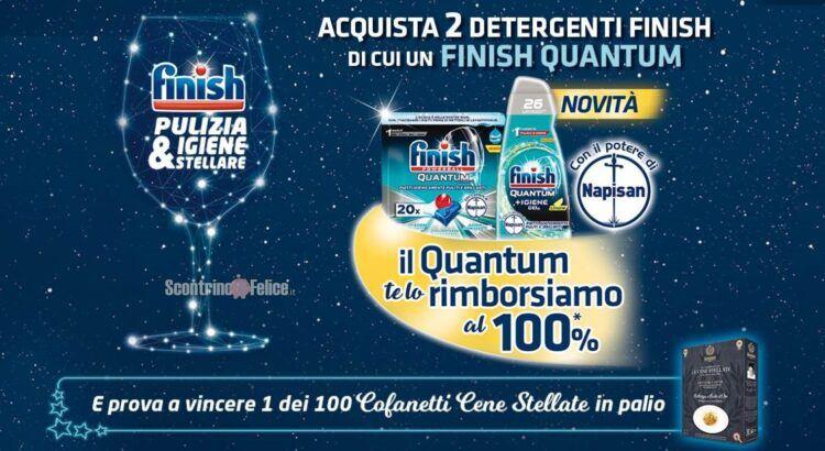 Finish Pulizia e Igiene stellare ricevi il rimborso di Finish Quantum e vinci 100 confanetti cene stellate