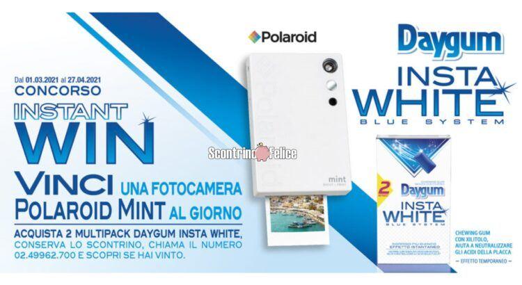 concorso Daygum Insta White 2021 vinci fotocamere Polaroid Mint