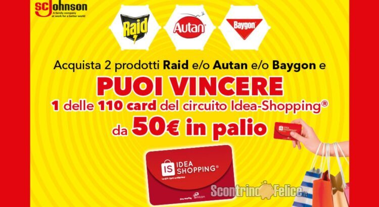Concorso Autan Raid Baygon vinci 110 Gift Card digitali Idea Shopping da 50 euro