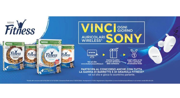 Concorso Cereali Fitness Vinci La Musica in palio cuffie wireless Sony
