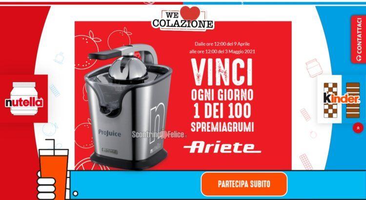 Concorso Nutella We Love Colazione 2021 vinci spremiagrumi Ariete