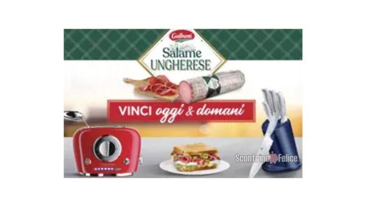 Concorso Salame Ungherese Galbani Vinci oggi e domani in palio ceppo di coltelli Berlingher Haus e tostapane Viceversa