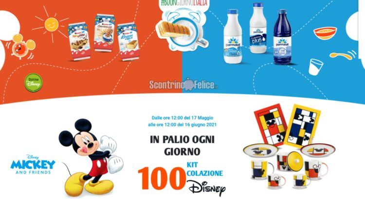 Concorso Ferrero e Parmalat Buongiorno Italia vinci Kit Colazione Disney