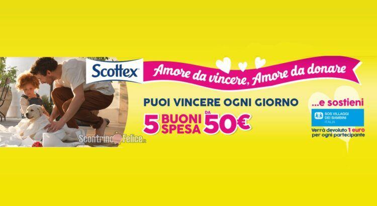 Concorso Scottex Amore Da Vincere Amore Da Donare in palio 765 Buoni Spesa da 50 euro