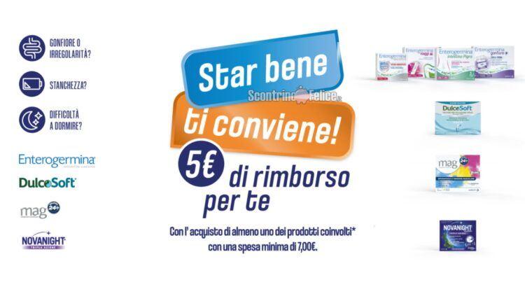 Cashback Star bene ti conviene acquista Enterogermina DulcoSoft Mag NovaNight rimborso