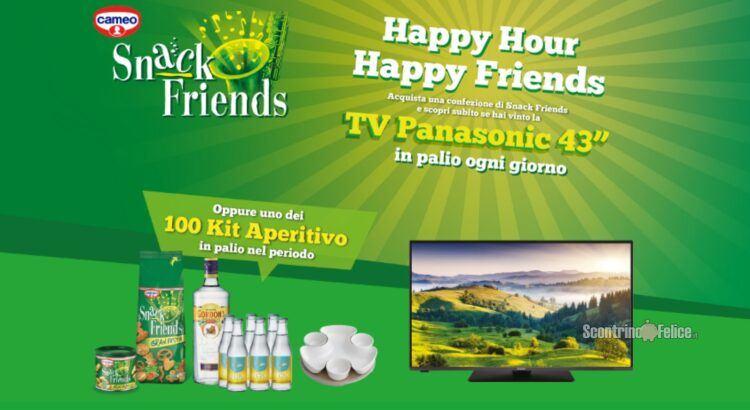 Concorso Cameo Happy hour happy friends vinci 70 TV Panasonic e Kit Aperitivo