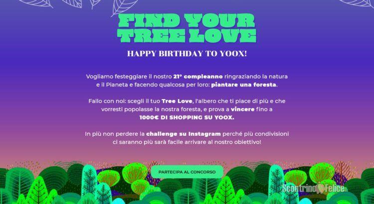 Concorso gratuito Yoox Find your tree love vinci voucher da 100€ o 1000€
