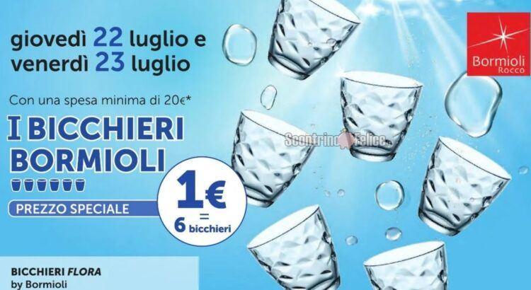 6 bicchieri bormioli flora a 1 euro da tigotà