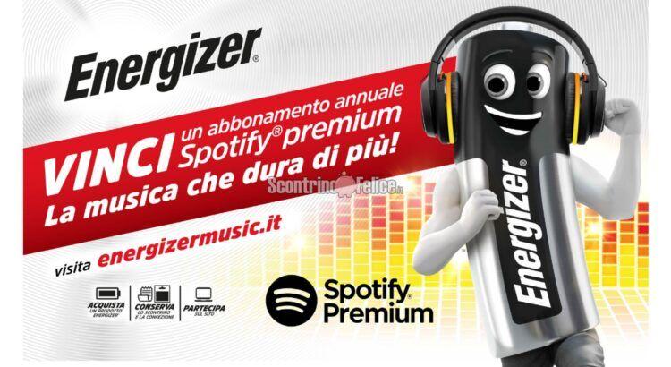Concorso Energizer La musica che dura di più vinci abbonamenti annuali Spotify Premium