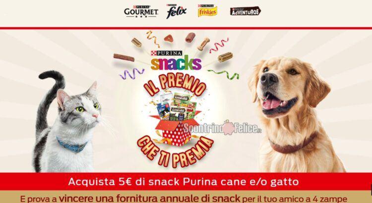 Concorso Purina Il premio che ti premia 2021 in palio 10 forniture annuali di Snack per cane e gatto