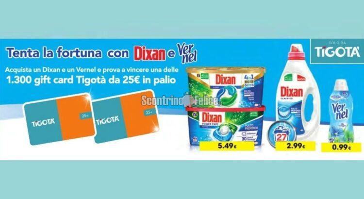Tenta la fortuna con Dixan e Vernel in palio 1300 gift card Tigotà da 25 euro