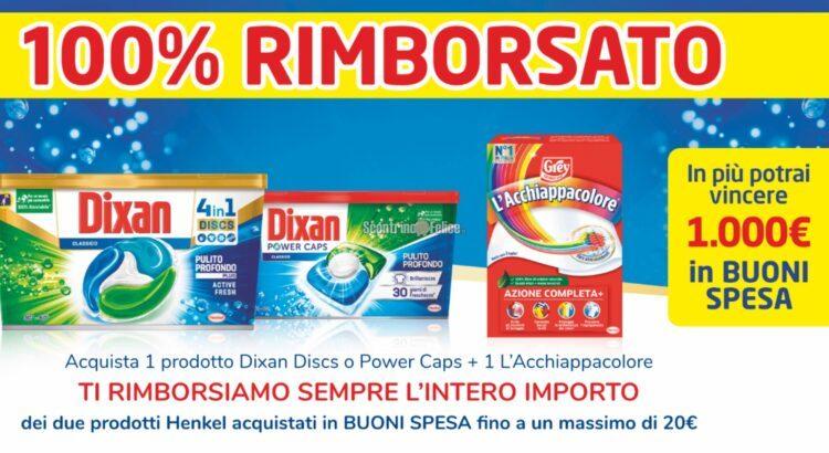 100% rimborsati con Dixan e L'Acchiappacolore ricevi il rimborso di 2 prodotti e vinci 1000 euro in buoni spesa