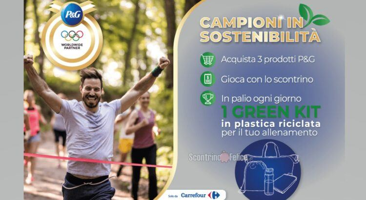 P&G Campioni di Sostenibilità da Carrefour in palio Green Kit di allenamento in plastica riciclata
