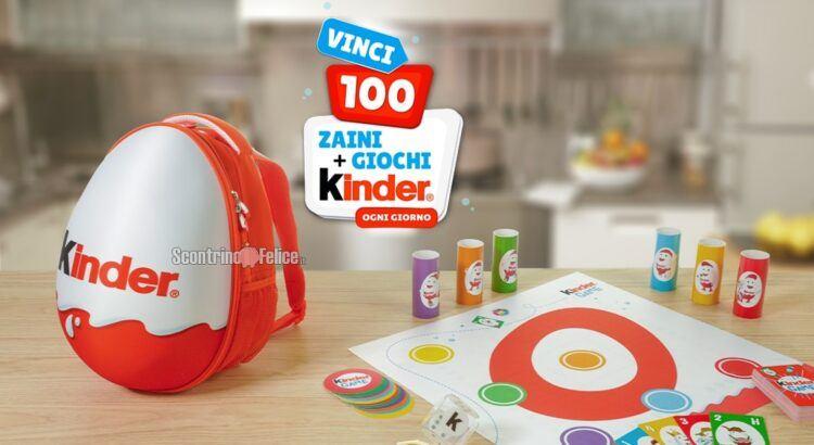 """Concorso """"Kinder Game 2021"""": in palio 100 kit con zaino tempo libero e set di giochi da tavola!"""
