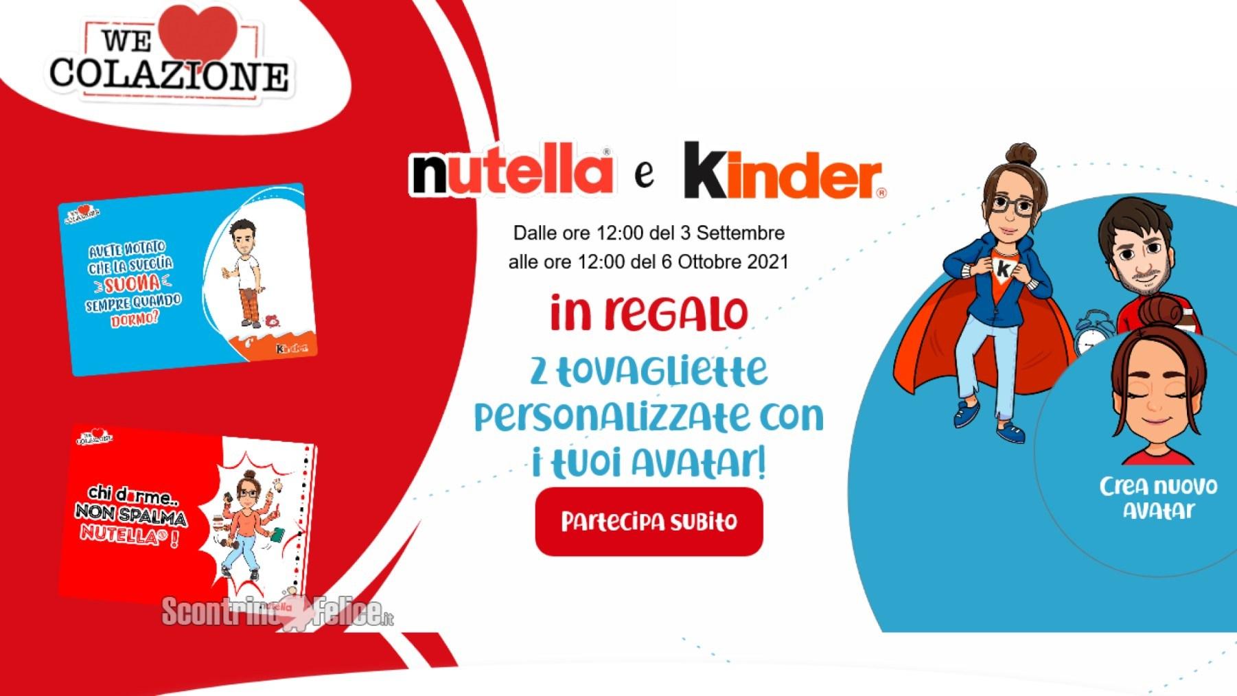 """Nutella """"We Love Colazione"""" 2021: ricevi 2 tovagliette personalizzate come premio certo"""