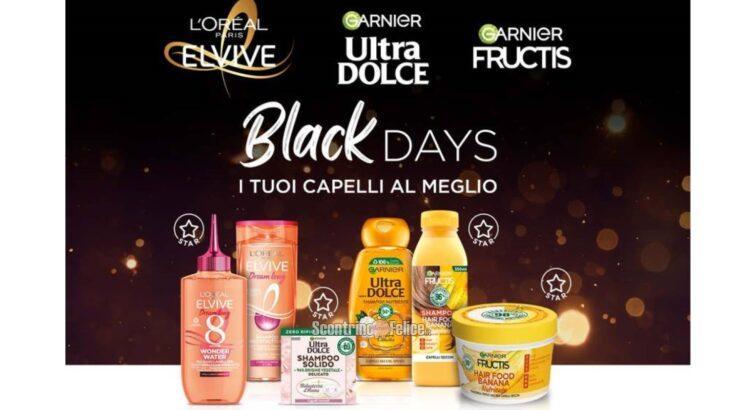 Cashback Black Days Elvive, Fructis e Ultra Dolce: ricevi il rimborso del prodotto più caro